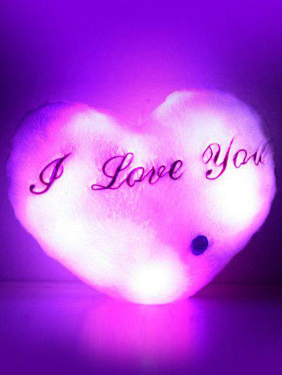 Love You Coeur variable Couleur Luminescence Oreiller - Rose