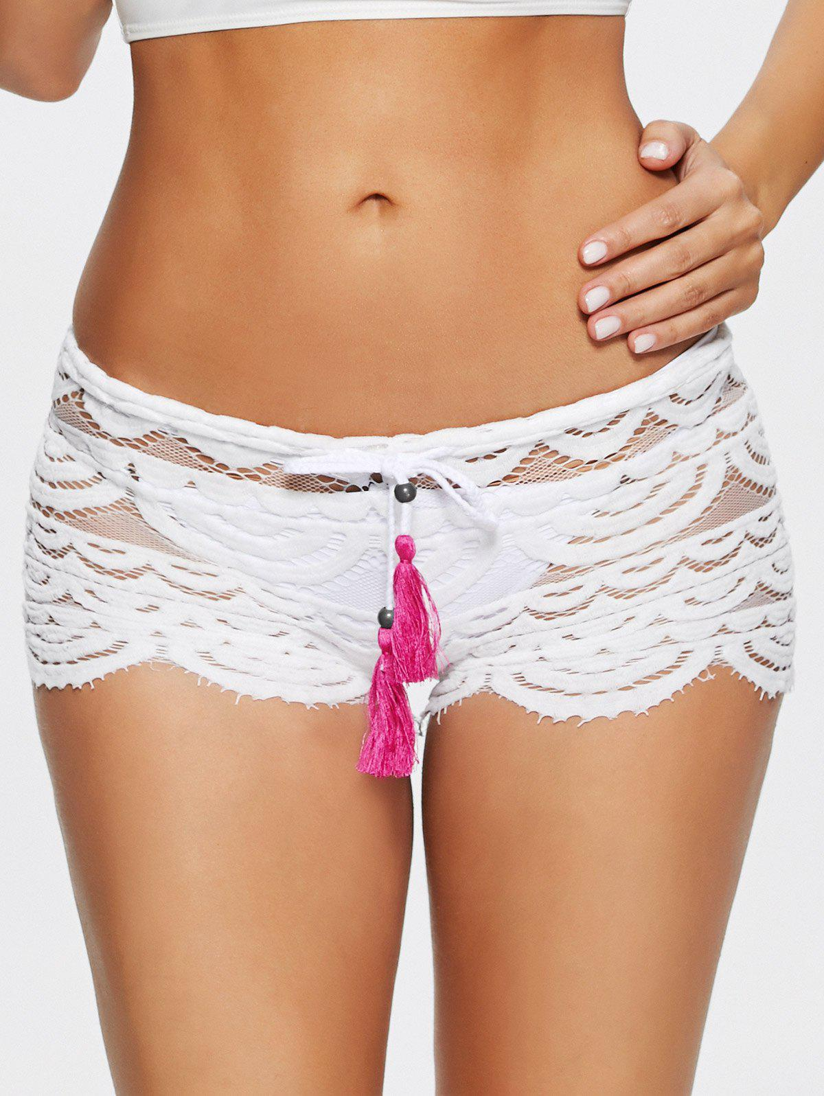 Sexy Hollow Out Lace Womens ShortsWomen<br><br><br>Size: L<br>Color: WHITE