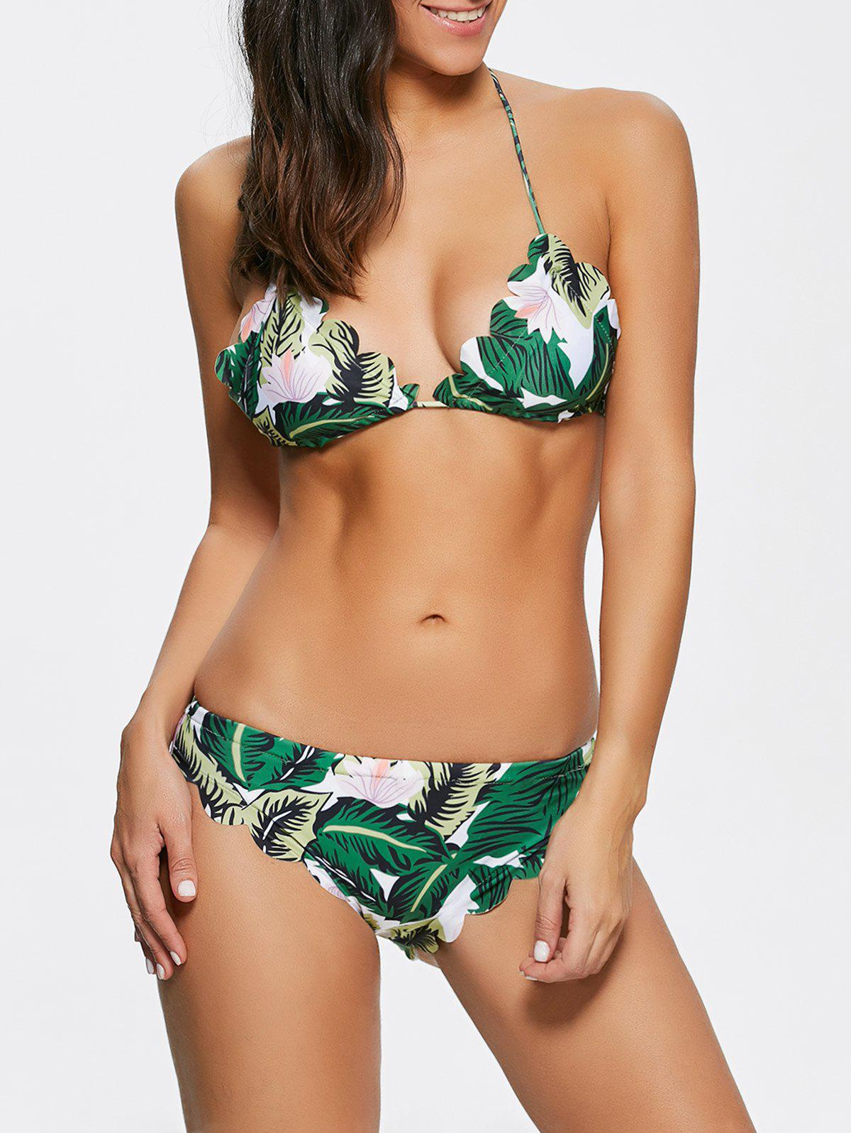 Halter Women's Tropical Bathing Suit - GREEN L