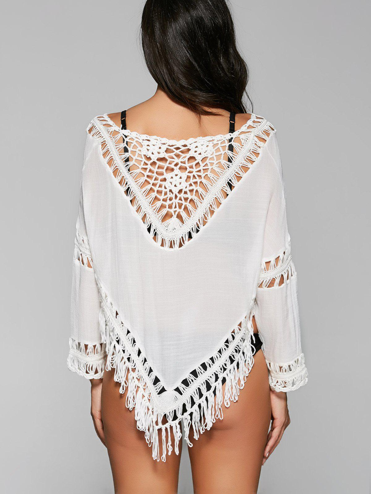 Chic 3/4 Sleeve Off-The-Shoulder Cut Out Women's Cover Up - WHITE ONE SIZE
