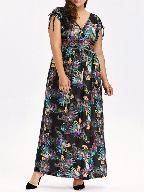 6a4553b14eb7 LIMITED OFFER] 2019 Bohemian Printed Plus Size Empire Waist Maxi ...