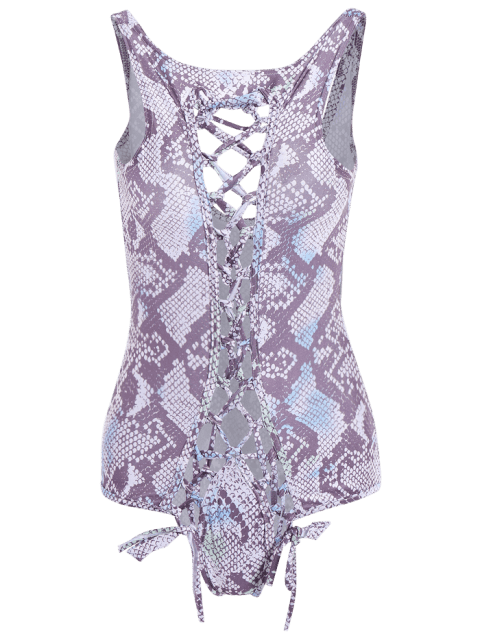 Hot Hollow Out Snake Print One-Piece Swimsuit  For Women - AS THE PICTURE XL