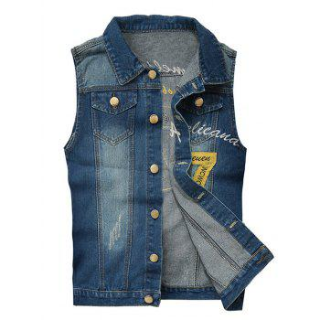 Chest Pocket Embroidered Scratched Denim Vest