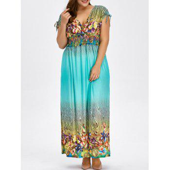 Buy Floral Print Bohemian Plus Size Long Hawaiian Maxi Dress LIGHT BLUE