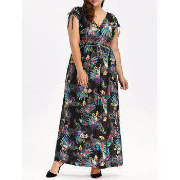 Buy Bohemian Ethnic Print Plus Size Maxi Dress BLACK