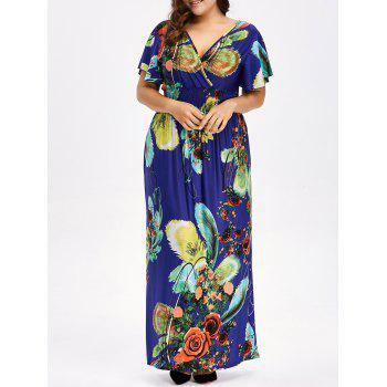 Floral Print Backless Plus Size Maxi Dress