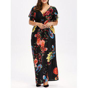 Buy Floral Print Backless Plus Size Maxi Dress BLACK