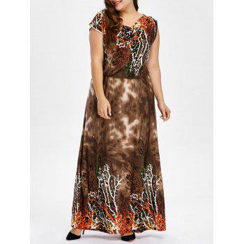 Buy Plus Size Printed Bohemian Maxi Dress BROWN