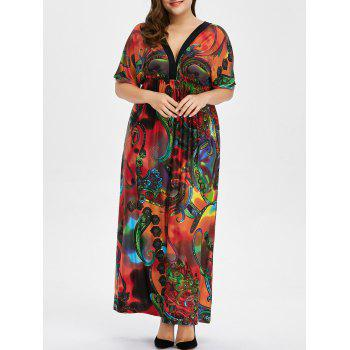 Buy Bohemian Print Plus Size Maxi Dress RED