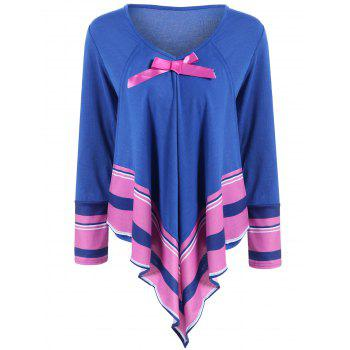 Bowknot Design Asymmetrical Striped Top