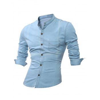 Stand Collar Pocket Long Sleeve Denim Shirt