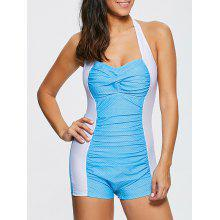 Halter Polka Dot Ruched One-Piece Swimwear