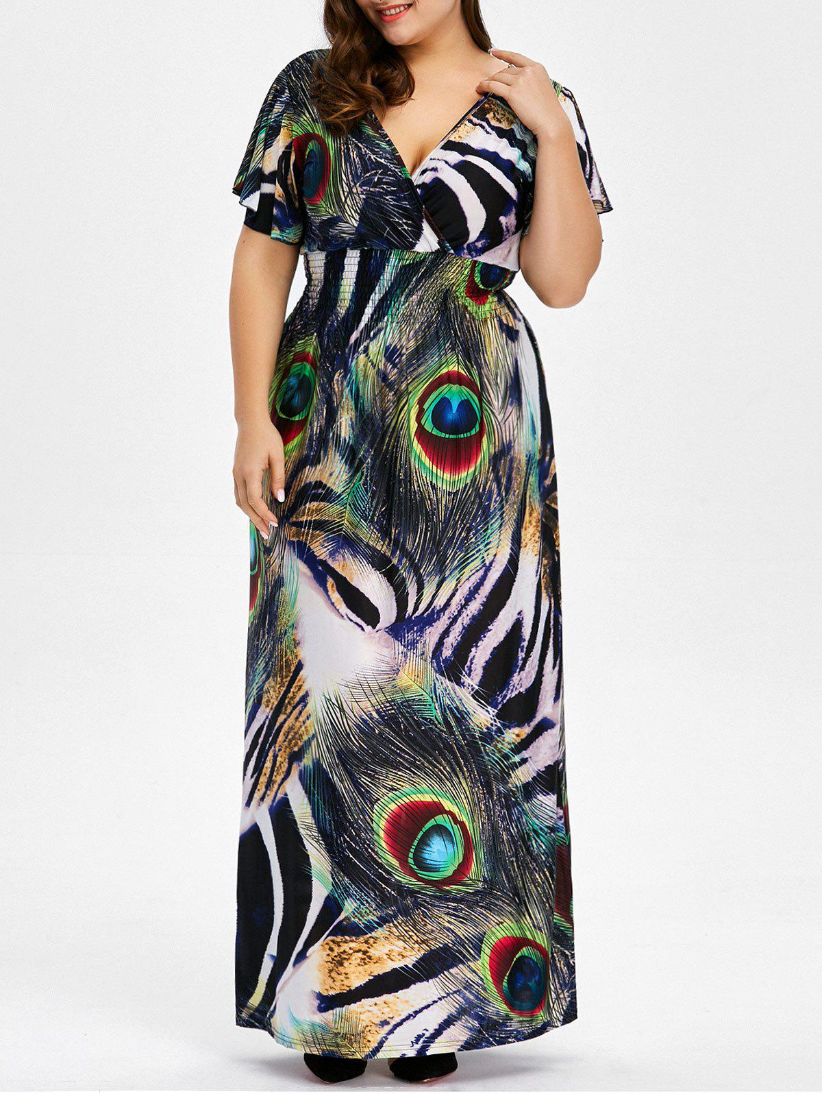 Peacock Feather Backless Plus Size Long Maxi Dress peacock feather backless plus size long maxi dress