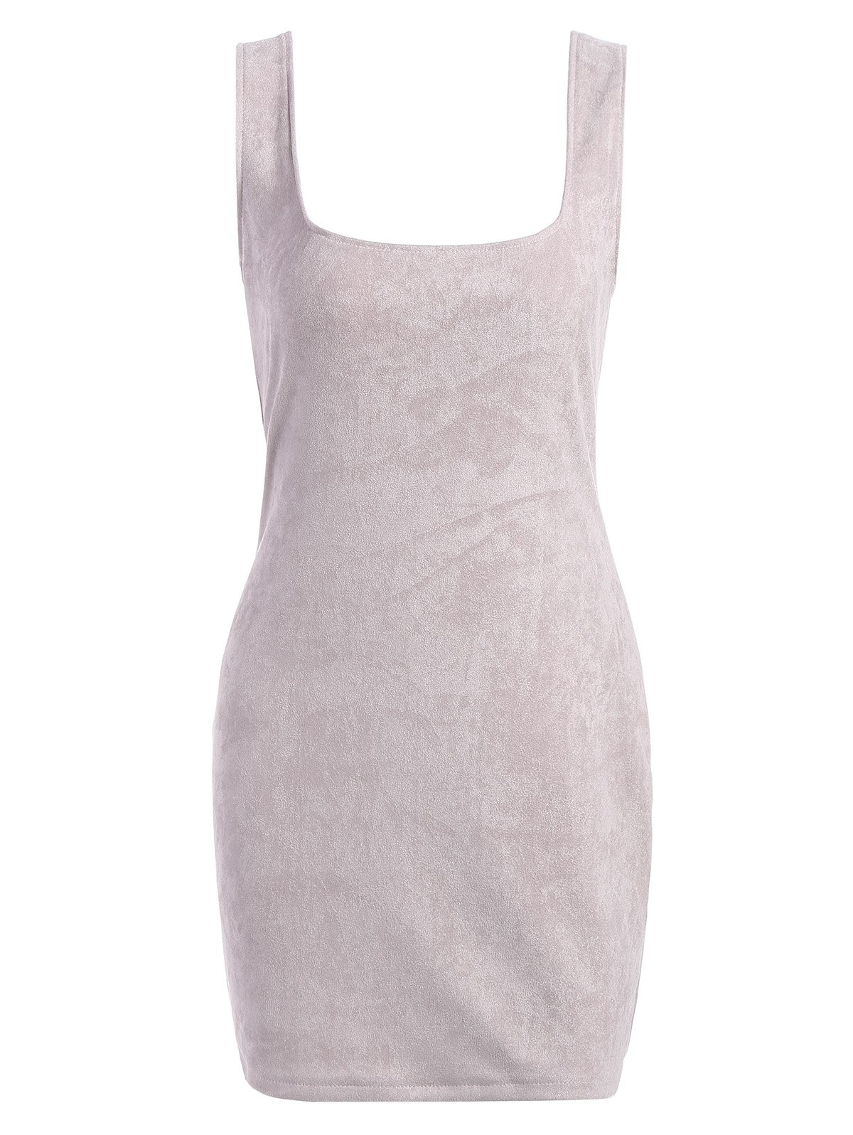 Open Back Suede Fitted DressWomen<br><br><br>Size: L<br>Color: GREY WHITE