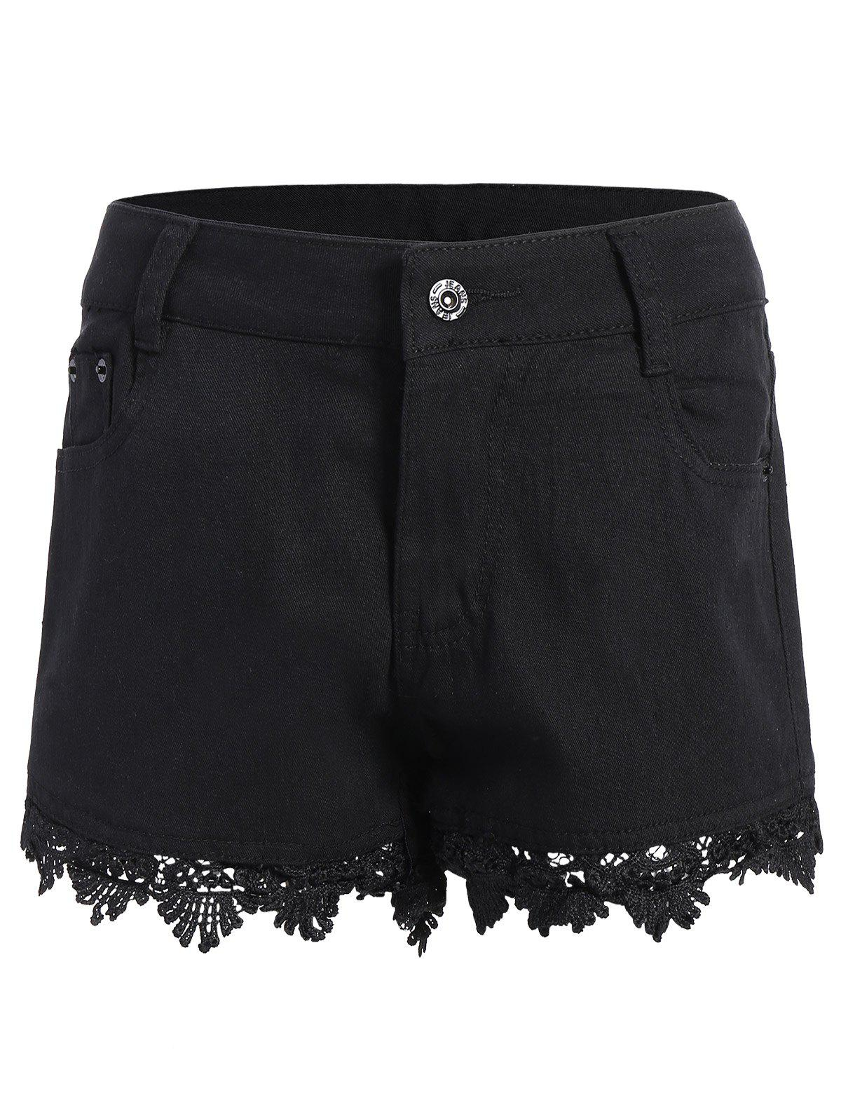 Lace Trim Denim Shorts - BLACK XL