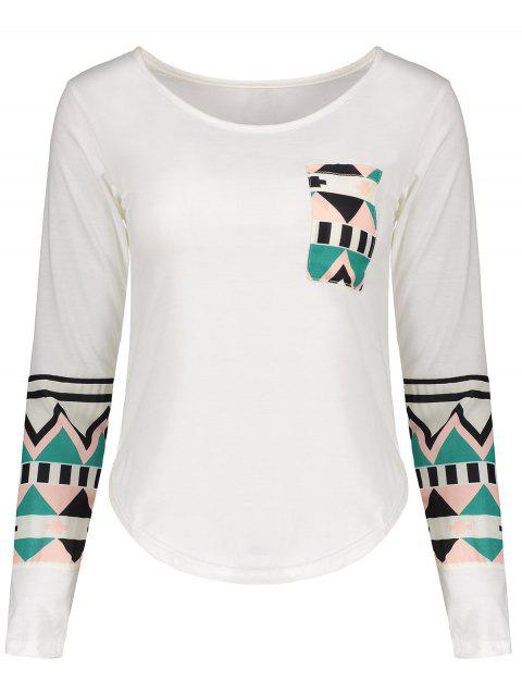 Geometric Color Block Pocket T-Shirt - OFF WHITE L