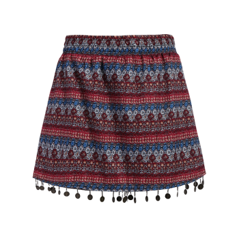 Stylish Wide Leg Ethnic Print Women's Shorts - COLORMIX L