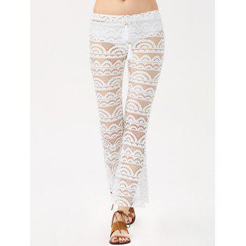 Sexy See-Through Lace Pantalons Solid Color Femmes - Blanc XL