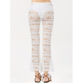 Sexy See-Through Solid Color Women's Lace Pants - WHITE L
