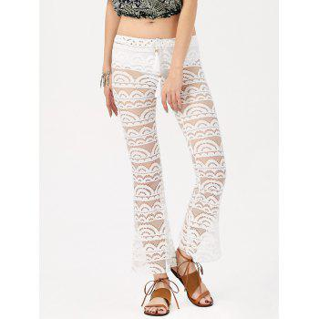 Sexy See-Through Solid Color Women's Lace Pants - WHITE M