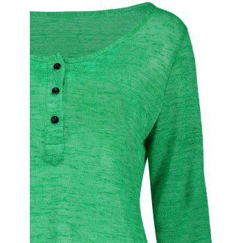 Pullover Long Sleeve Scoop Neck Solid Color Blouse For Women - GREEN M