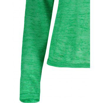 Pullover Long Sleeve Scoop Neck Solid Color Blouse For Women - GREEN GREEN