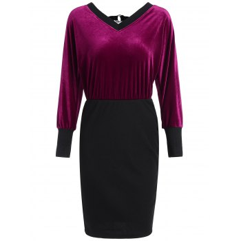 Batwing Sleeve Mini Blouson Dress