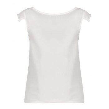 Brief White Scoop Neck Sleeveless Chiffon Blouse For Women - WHITE L