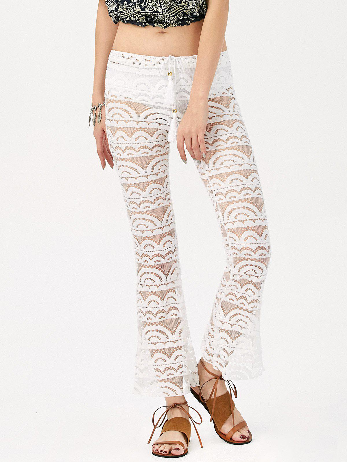 Sexy See-Through Solid Color Women's Lace Pants - WHITE XL