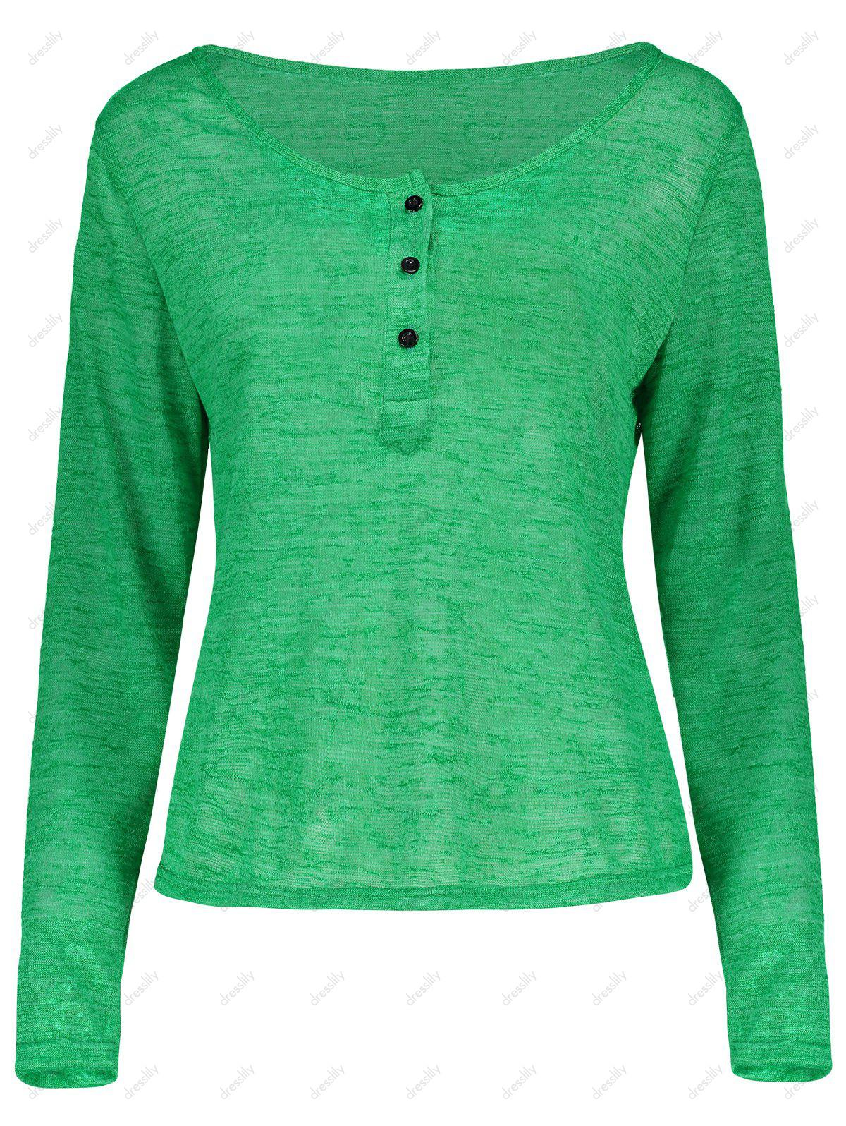 Pullover Long Sleeve Scoop Neck Solid Color Blouse For Women - GREEN L