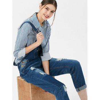 Hole Design Plus Size Denim Overalls