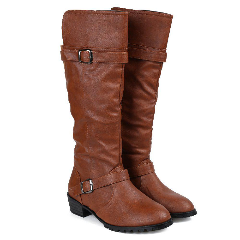 Buckles Low Heel Mid Calf Boots - BROWN 39