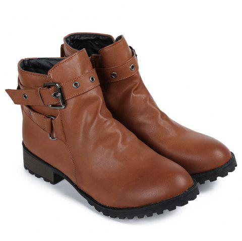 Trendy Cross Straps and Zipper Design Ankle Boots For Women - BROWN 39