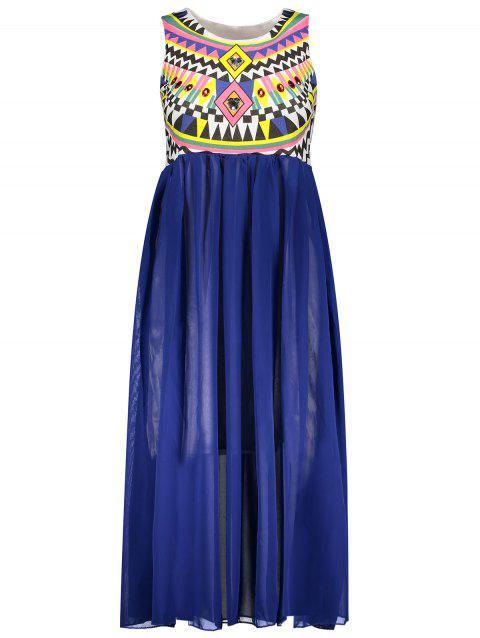 2cf2c19f527 Special Print Bohemian Style Chiffon Ruffled Scoop Neck Sleeveless Women s Maxi  Dress - BLUE ONE SIZE