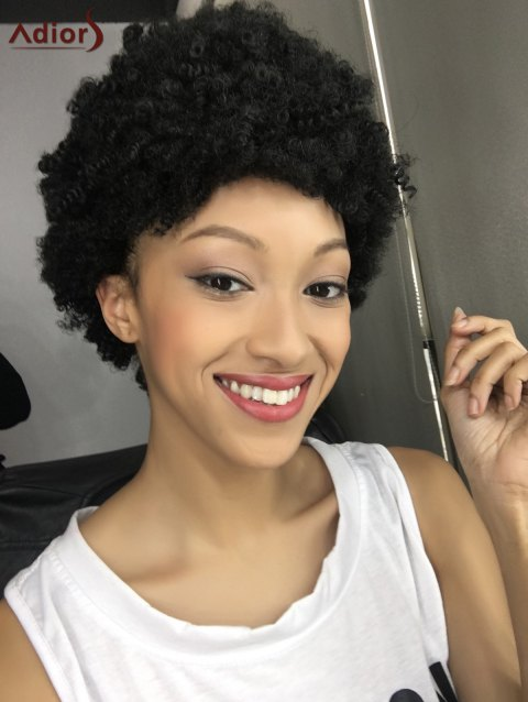 Spiffy Capless Short Curly Synthetic Wig - BLACK