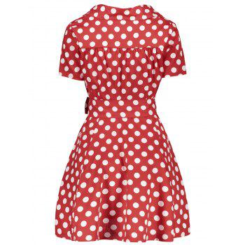 Polka Dot Print V-Neck Short Sleeve Ball Dress - RED 2XL