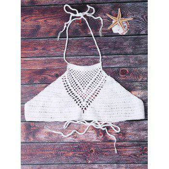 Sexy Halter Hollow Out Solid Color Crochet Women's Tank Top - WHITE WHITE