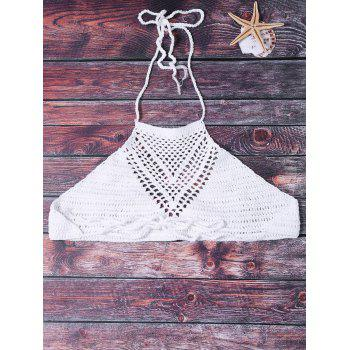 Sexy Halter Hollow Out Solid Color Crochet Women's Tank Top - WHITE ONE SIZE