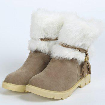 Cute Plush and Tassels Design Snow Boots For Women - APRICOT 38