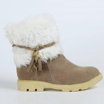 Cute Plush and Tassels Design Snow Boots For Women - APRICOT 41