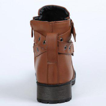 Trendy Cross Straps and Zipper Design Ankle Boots For Women - BROWN 36