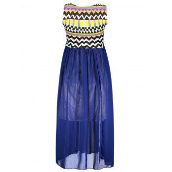 Special Print Bohemian Style Chiffon Ruffled Scoop Neck Sleeveless Women's Maxi Dress - BLUE ONE SIZE