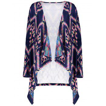 Retro Style Long Sleeve Collarless Ethnic Print Loose-Fitting Women's Cardigan