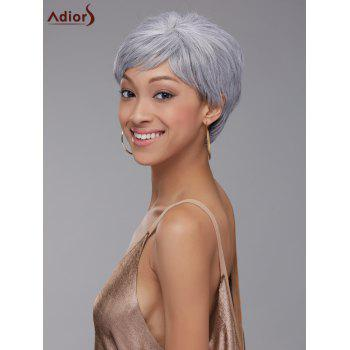 Elegant Straight Grey White Synthetic Short Pixie Cut Wig For Women