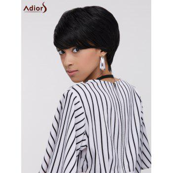 Short Capless Straight Side Bang Heat Resistant Synthetic Wig - BLACK