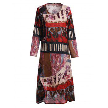 Stylish Scoop Neck Ethnic Print Loose-Fitting Long Sleeve Women's Dress