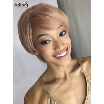 Short Side Bang Fluffy Straight Double Color Synthetic Capless Wig
