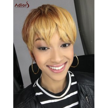 Short Mixed Color Straight Neat Bang Synthetic Wig