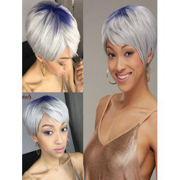 Adiors Hair Short Blue Gray Full Bang Straight Synthetic Wig
