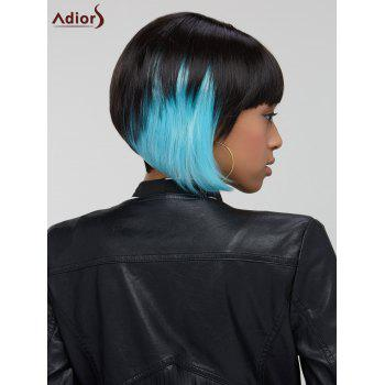 Adiors Hair Blue Highlights Short Full Bang Straight Synthetic Wig